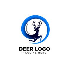 Circle run deer logo