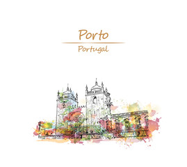 Watercolor splash with sketch of view on the square with Se cathedral and Pillar column Porto city, Portugal  in vector illustration.