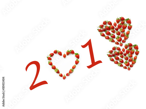 romantic christmas motif with heart shaped strawberries 2018 new year card concept