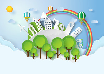 Save the world with environment conservation concept.Paper art style of nature landscape and green eco city of renewable energy.Vector illustration.