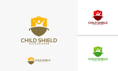 Chiild Care logo template, Child Shield logo designs vector