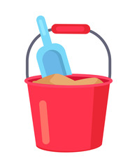Vector poster of Bucket with Sand and Kids Spade