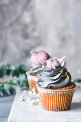 Cakes with gray pastel cream and mini pink meringues on marble surface over concrete background. Pastel colors. Closeup view, selective focus