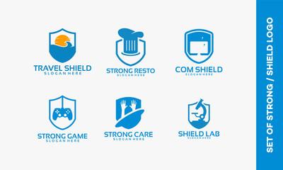 Set of Shield logo designs, Set of Strong logo designs emblem vector illustration