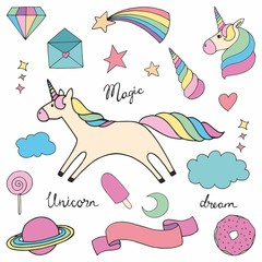 Unicorn. Set of colorful vector illustrations for design