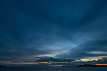 Dark sky with rain clouds over the sea after sunset