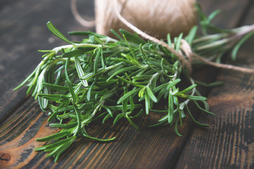 Bunches of fresh rosemary