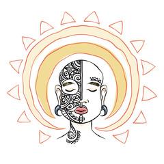 Meditation head with sun aura. Mask decorative composition.