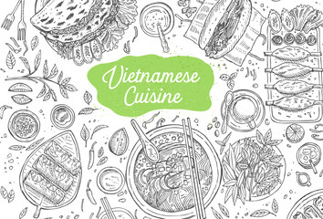 Hand drawn top view traditional Vietnamese food, Vector Illustration