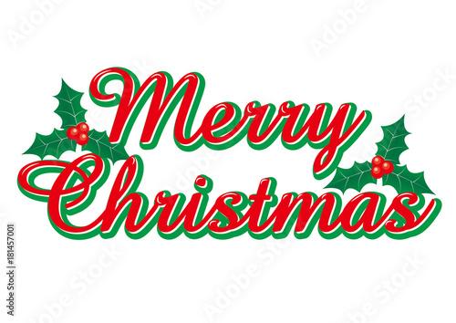 merry christmas logo with a cursive holly merry christmas logo vector data vector