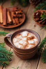 Hot cocoa with marshmallows and cinnamon on rustic wooden table.