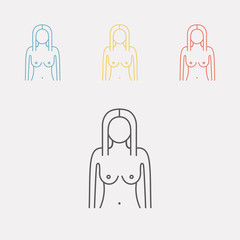 Woman's figure. Silhouettes. Line icon. Vector illustration