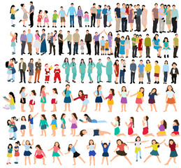 vector, isolated collection of children, flat style