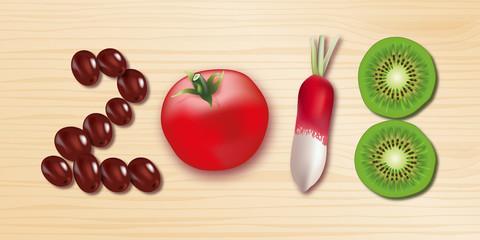 2018 - carte de vœux - alimentation - végétarien -aliment - diète - concept - fruit et légume -santé