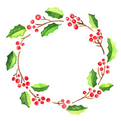 Watercolor Christmas wreath of holly with red berries