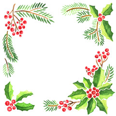 Watercolor frame of Christmas evergeen plants. Decorative composition of mistletoe, fir tree branches and holly with red berries