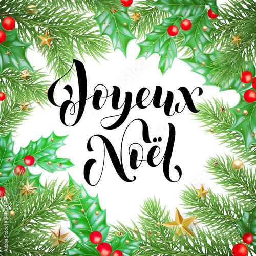Joyeux noel french merry christmas trendy quote calligraphy and joyeux noel french merry christmas trendy quote calligraphy and holly wreath on white premium background for maxwellsz
