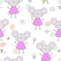 hand drawn Sample pattern with little mouse