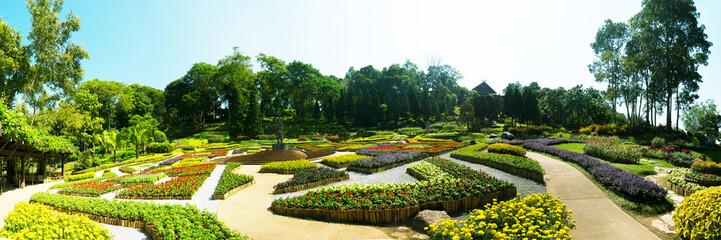 Panorama of Garden of Doi Tung Royal Villa, Chiang Rai, Thailand