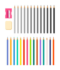 Stationery Illustration with Icons Various Pencils