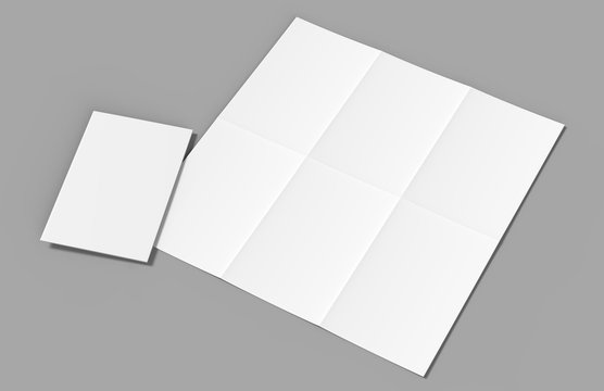 Half fold then tri fold brochure ready for your design. Blank white 3d render illustration.