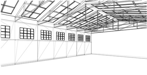 Warehouse sketch. Vector rendering of 3d