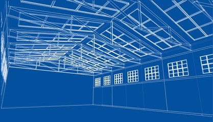 Warehouse sketch. Vector rendering of 3d