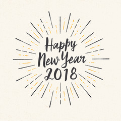 Handmade style greeting card - Happy New Year 2018 - Vector EPS10.
