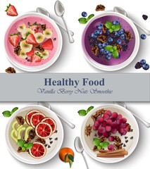 Berry and nuts Healthy breakfasts Vector realistic illustrations