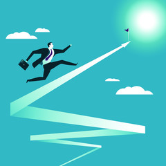 Businessman running up to the goal. Vector illustration