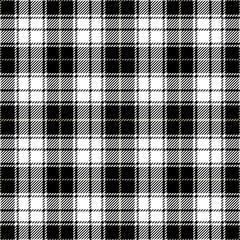 Black and White Tartan Plaid Seamless Woven Pattern