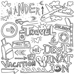 Handdrawn symbols of tourism and traveling.