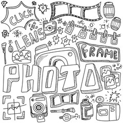 Photo doodles hand drawn sketchy vector symbols and objects.