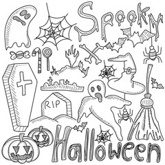 Hand drawn doodle cartoon set of objects and symbols on the Halloween theme.
