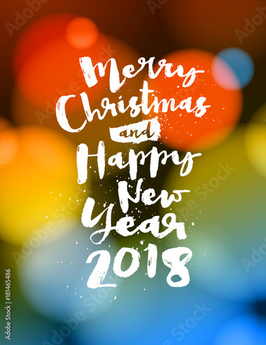 merry christmas and happy new year 2018 greeting card vector eps 10 no mesh