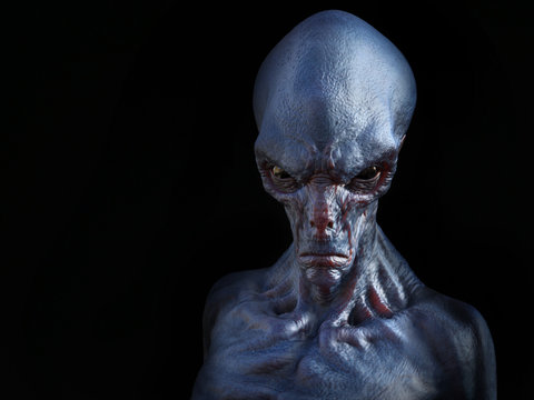 3D rendering of an angry alien creature.