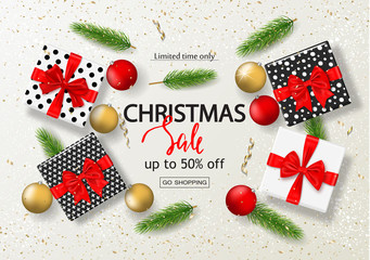 Christmas sale poster with gift boxes, serpentine, balls and tree branches. Vector illustration for website and banners, posters, ads, coupons, promotional material.