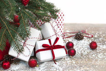 Christmas holiday background. Gifts under christmas tree. Copy space.