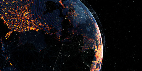 Wall Mural - Global International Connectivity Background/Connection lines Around Earth Globe, Futuristic Technology Theme Background with Light Effect