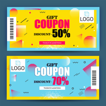 Creative Discount Voucher, Gift Card or Coupon template layout.