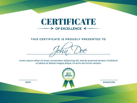 Certificate of appreciation award template with green shapes and badge.