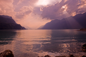 swiss lake sunset