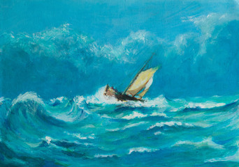 Original oil painting of lonely little sailing ship battling in a storm on the ocean
