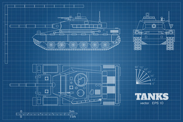 Blueprint of realistic tank. Top, front and side view. Detailed armored car. Industrial drawing. War vehicle in outline style