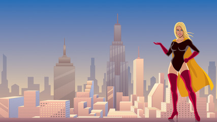 Superheroine Presenting in City / Illustration of smiling superheroine presenting your text or product with cityscape as background.