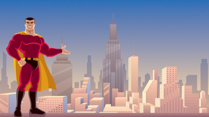 Superhero Presenting in City / Illustration of smiling superhero presenting your text or product with cityscape as background.