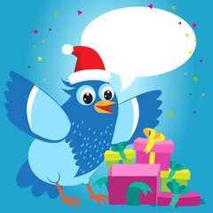 Nice Talking With You. Merry Christmas Card With Cartoon Blue Bird Vector. Christmas Presents Gift Vector. Bird With Christmas Hat.