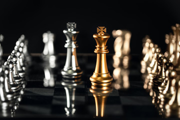 Chess board game idea of management strategy and leadership concept