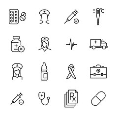 Set of premium hospital icons in line style.