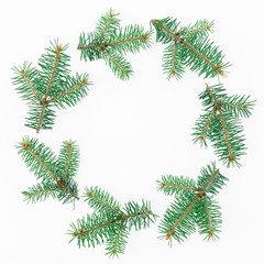 Christmas round frame of winter trees on white background. Flat lay, top view